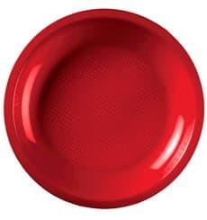 Plastikteller Flach Rot Round PP Ø220mm (50 Stück)