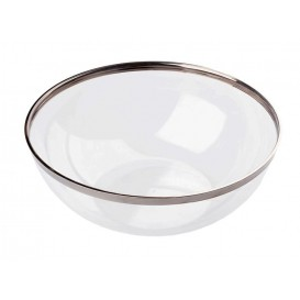 Plastikschale transparent mit Silber-Rand 1500ml (4 Stück)