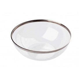 Plastikschale transparent mit Silber-Rand 400ml (80 Stück)
