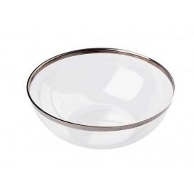 Plastikschale transparent mit Silber-Rand 400ml (8 Stück)