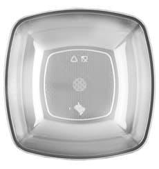 Plastikteller Tief Transparent Square PS 180mm (300 Stück)