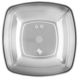 Plastikteller Tief Transparent Square PS 180mm (25 Stück)
