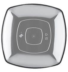 Plastikteller Flach Transparent Square PS 230mm (25 Stück)