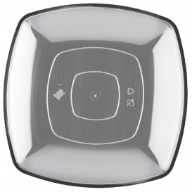 Plastikteller Flach Transparent Square PS 230mm (150 Stück)