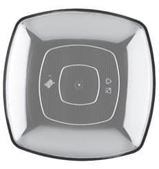Plastikteller Flach Transparent Square PS 300mm (12 Stück)