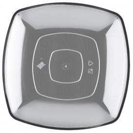 Plastikteller Flach Transparent Square PS 300mm (72 Stück)