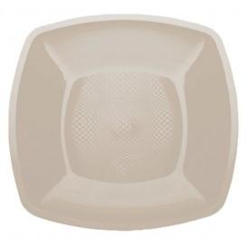 Plastikteller Flach Beige Square PP 230mm (25 Stück)