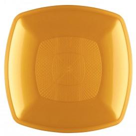Plastikteller Tiefe Gold Square PP 180mm (12 Stück)