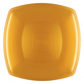 Plastikteller Flach Gold Square PS 300mm (12 Stück)