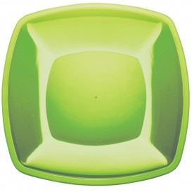 Plastikteller Flach Grasgrün Square PS 300mm (72 Stück)