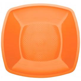 Plastikteller Flach Orange Square PP 180mm (25 Stück)