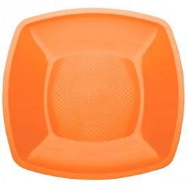 Plastikteller Flach Orange Square PP 230mm (150 Stück)