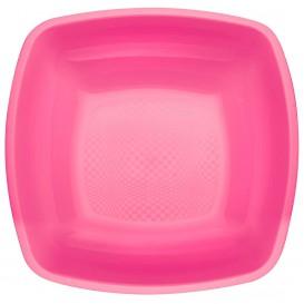 Plastikteller Tiefe Fuchsie Square PP 180mm (25 Stück)