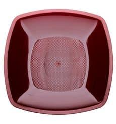 Plastikteller Flach Bordeaux Square PP 180mm (300 Stück)