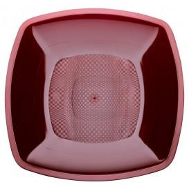 Plastikteller Tiefe Bordeaux Square PP 180mm (25 Stück)