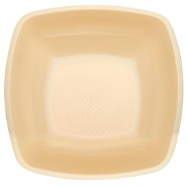 Plastikteller Tiefe Creme Square PP 180mm (150 Stück)