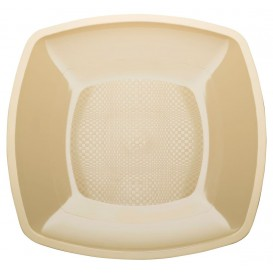 Plastikteller Flach Creme Square PP 230mm(150 Stück)