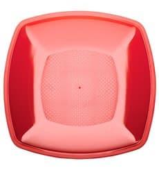 Plastikteller Flach Rot Transp. Square PS 180mm (300 Stück)