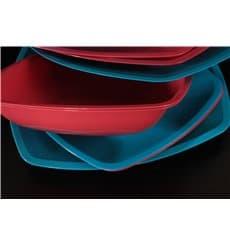 Plastikteller Tief Rot Transp. Square PS 180mm (25 Stück)