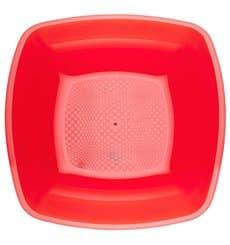 Plastikteller Tief Rot Transp. Square PS 180mm (300 Stück)