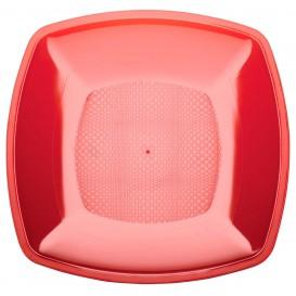 Plastikteller Flach Rot Transp. Square PS 230mm (25 Stück)