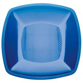 Plastikteller Flach Blau Transp. Square PS 180mm (25 Stück)