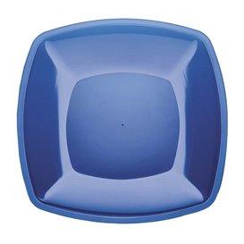 Plastikteller Flach Blau Transp. Square PS 300mm (12 Stück)