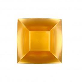 Plastikteller Tiefe Quadratisch Gold 180mm (150 Stück)