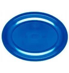Plastiktablett Oval Blau Mittelmer Round PP 305mm (25 Stück)