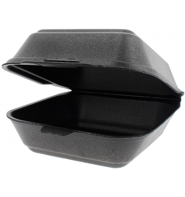 Groß Burger-Box Styropor Schwarz (500 Stück)