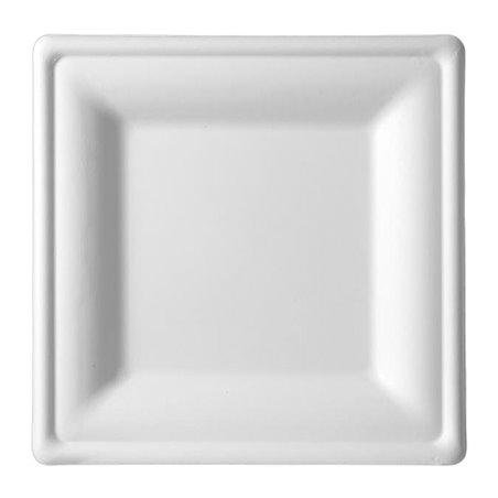 Quadratischer Teller Zuckerrohr Weiß 200x200mm (50 Stück)