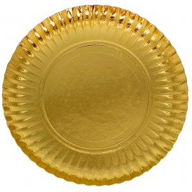 Pappteller Rund Gold 230mm (100 Einh.)