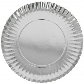 Pappteller Rund Silber 230mm (100 Stück)