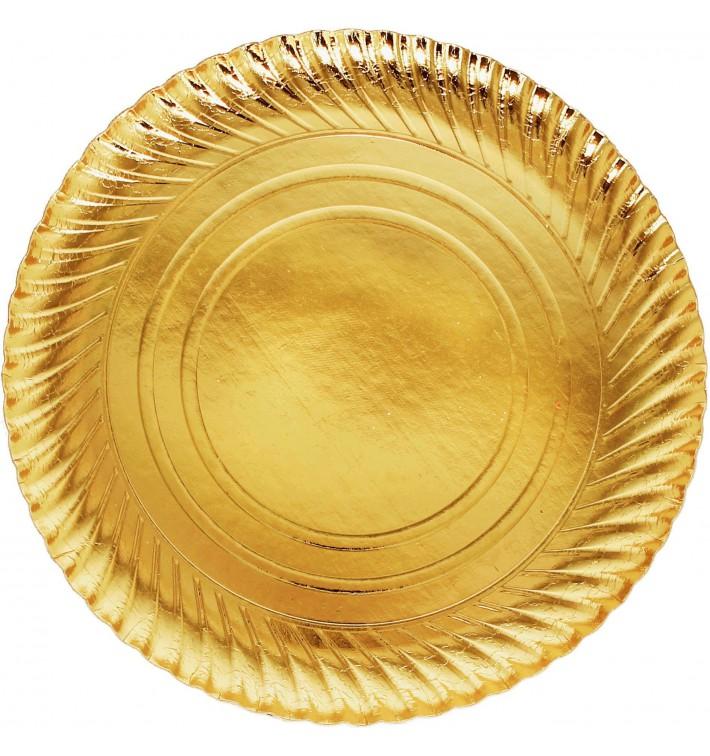 Pappteller Rund Gold 300mm (100 Stück)