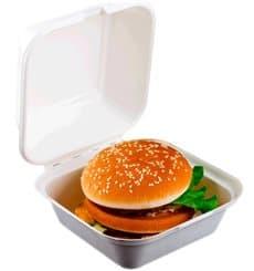 Burger-Box Zuckerrohr Weiß 152x152x84mm (50 Stück)