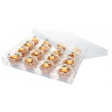 Plastikbox mit 16 herausnehmbaren sechseckigen Dessertbechern (1 Einheit)