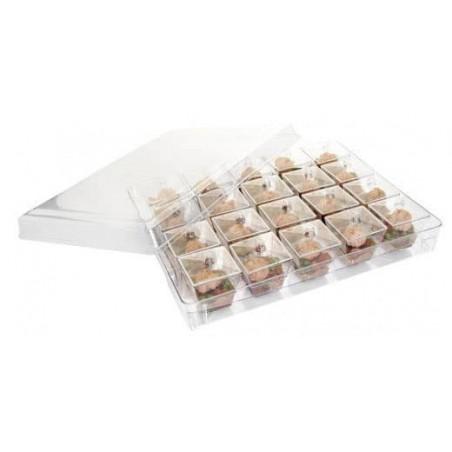Plastikbox mit 20 herausnehmbaren eckigen Dessertbechern (12 Stück)