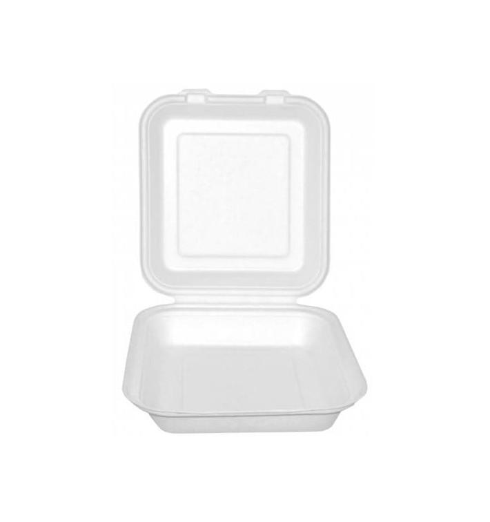 Burger-Box Weiß Zuckerrohr 20x20x7,5cm (50 Stück)