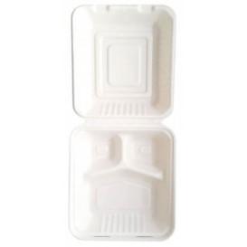 Menübox Zuckerrohr 3-Geteilt Weiß 20x20x7,5cm (50 Stück)