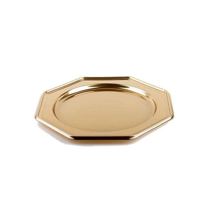 Platzteller achteckig Gold 30cm (50 Stück)