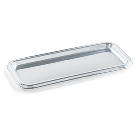 Plastikplatte rechteckig Silber 35x16cm (50 Stück)