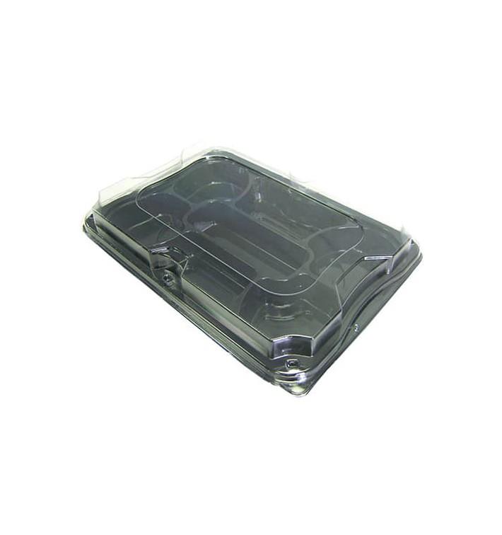 Plastiktablett 7-geteilt schwarz mit Deckel 35x24cm (25 Packs)