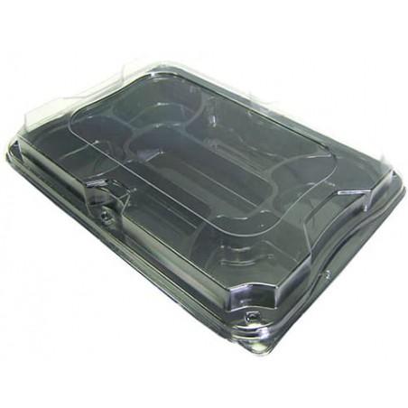 Plastiktablett mit 7 Fächern schwarz mit Deckel 35x24cm (25 Stück)