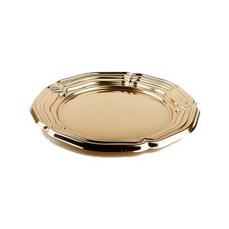 Servierplatte Plastik rund Gold 34cm (5 Stück)