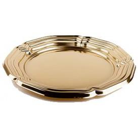Servierplatte Plastik rund Gold 34cm (50 Stück)