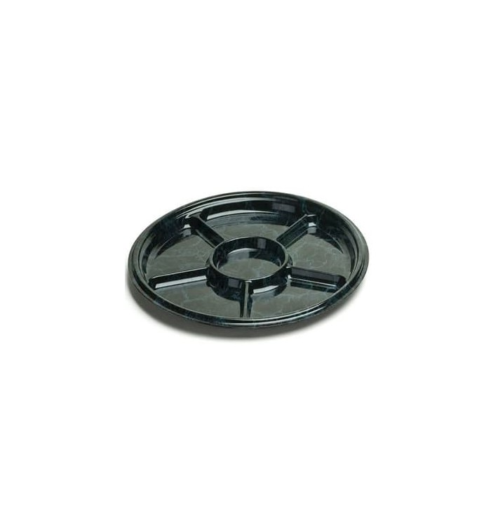 Servierplatte rund 6-geteilt Marmor 46cm (5 Stück)