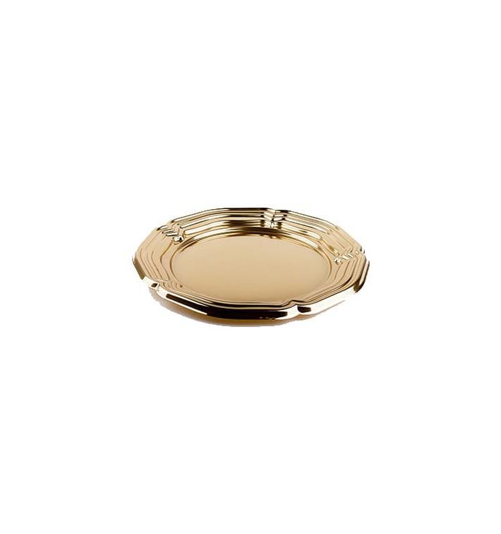 Servierplatte Plastik rund Gold 46cm (5 Stück)