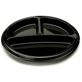 Plastikteller rund 3-geteilt schwarz 26cm (25 Stück)