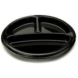 Plastikteller rund 3-geteilt schwarz 26cm (250 Stück)