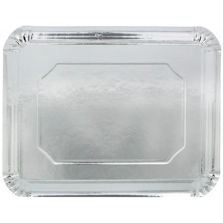 Pappschale rechteckig Silber 34x42cm (50 Stück)